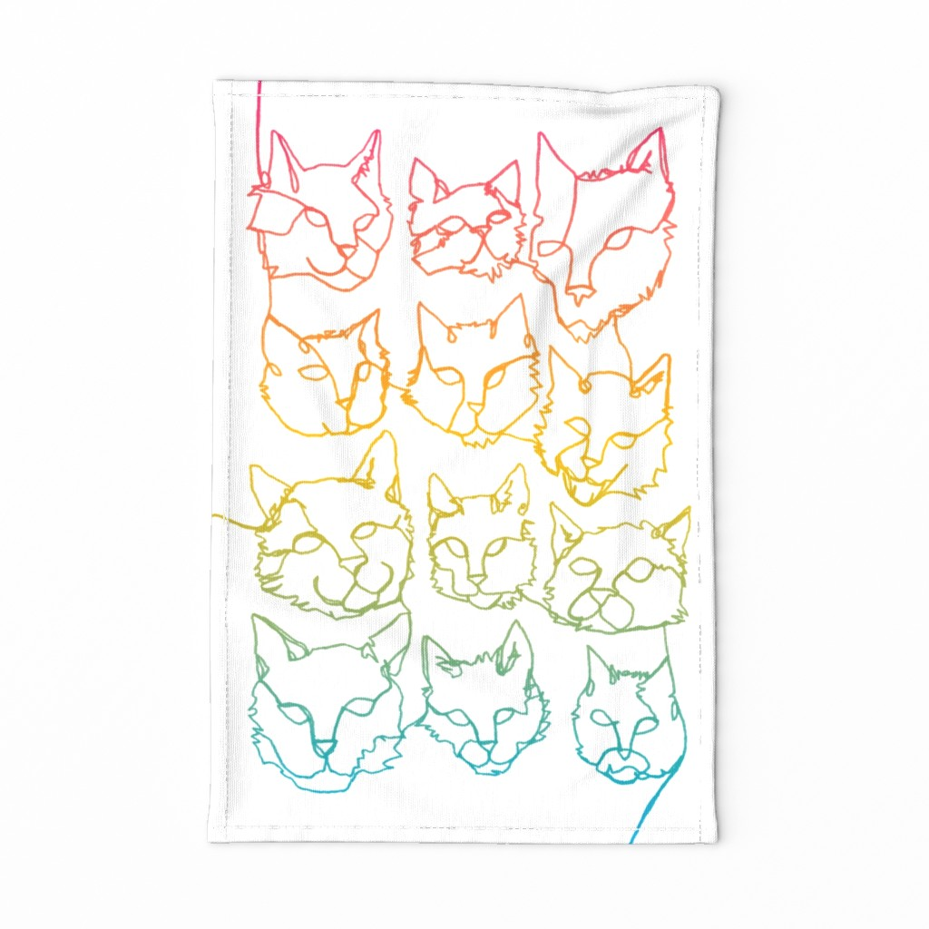 Special Edition Spoonflower Tea Towel featuring Contour Cats by autumn_musick