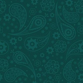 Paisley Steampunk Flowers Green Teal