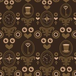 Steampunk Brown Hats, Keys N' Hearts