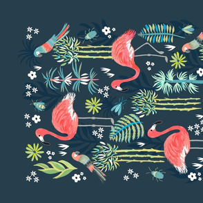 Painted Flamingoes Tea Towel