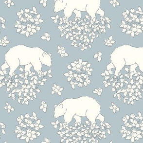 Bears and berries pale blue