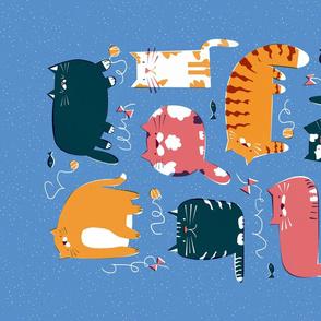 Playful cats tea towel