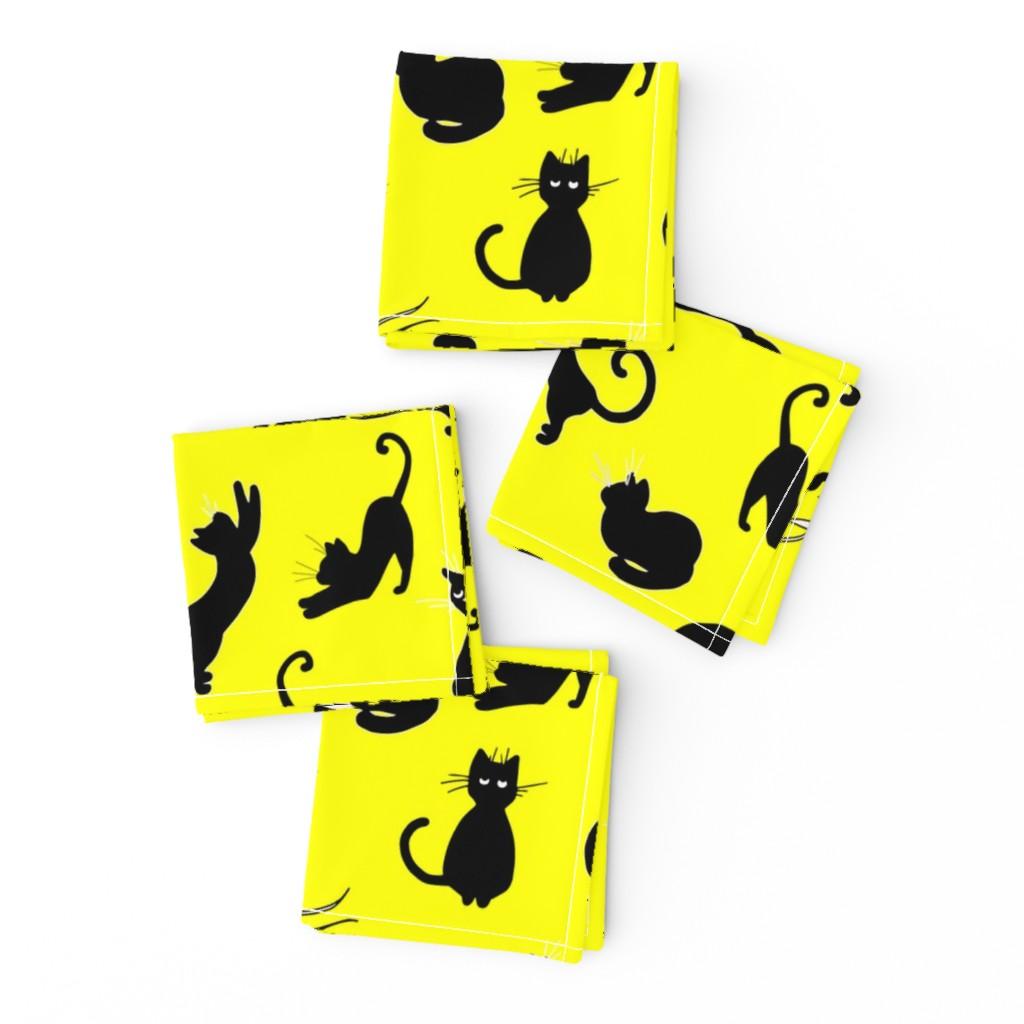 Frizzle Cocktail Napkins featuring ute yellow cat pattern by nina_savinova