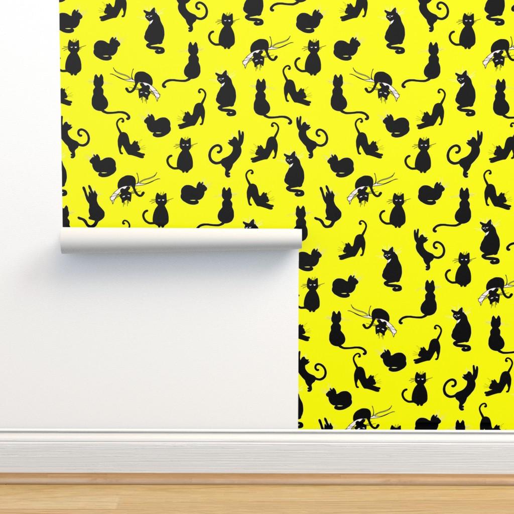 Isobar Durable Wallpaper featuring ute yellow cat pattern by nina_savinova