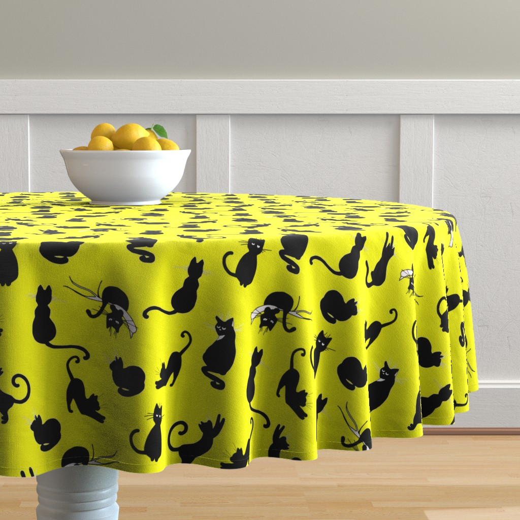 Malay Round Tablecloth featuring ute yellow cat pattern by nina_savinova