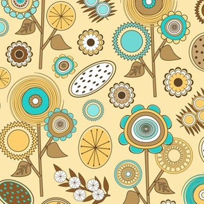 Yellow and Turquoise Mid Century Modern Field of Flowers