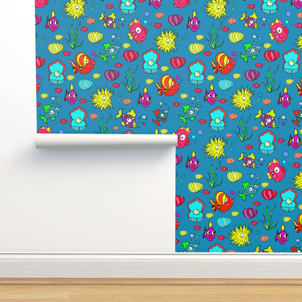 Isobar Durable Wallpaper featuring Happy Ocean Fish pattern by nina_savinova