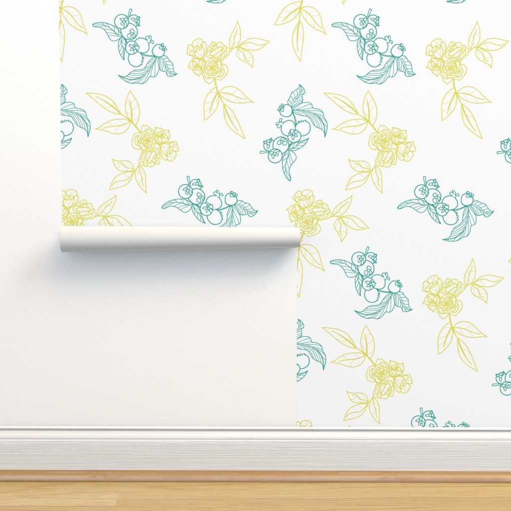 Isobar Durable Wallpaper featuring Hand drawn Floral vintage pattern line desig by nina_savinova