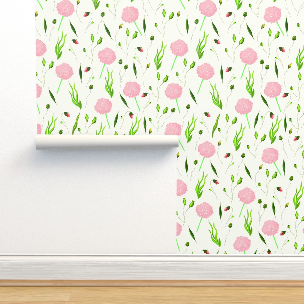 Isobar Durable Wallpaper featuring Floral pattern Lovely camp flowers by nina_savinova