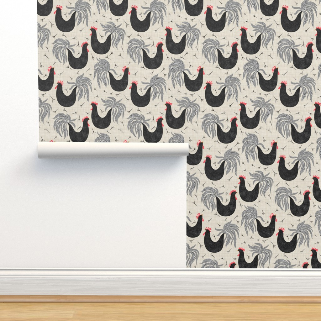 Isobar Durable Wallpaper featuring Roosters repeating by vo_aka_virginiao