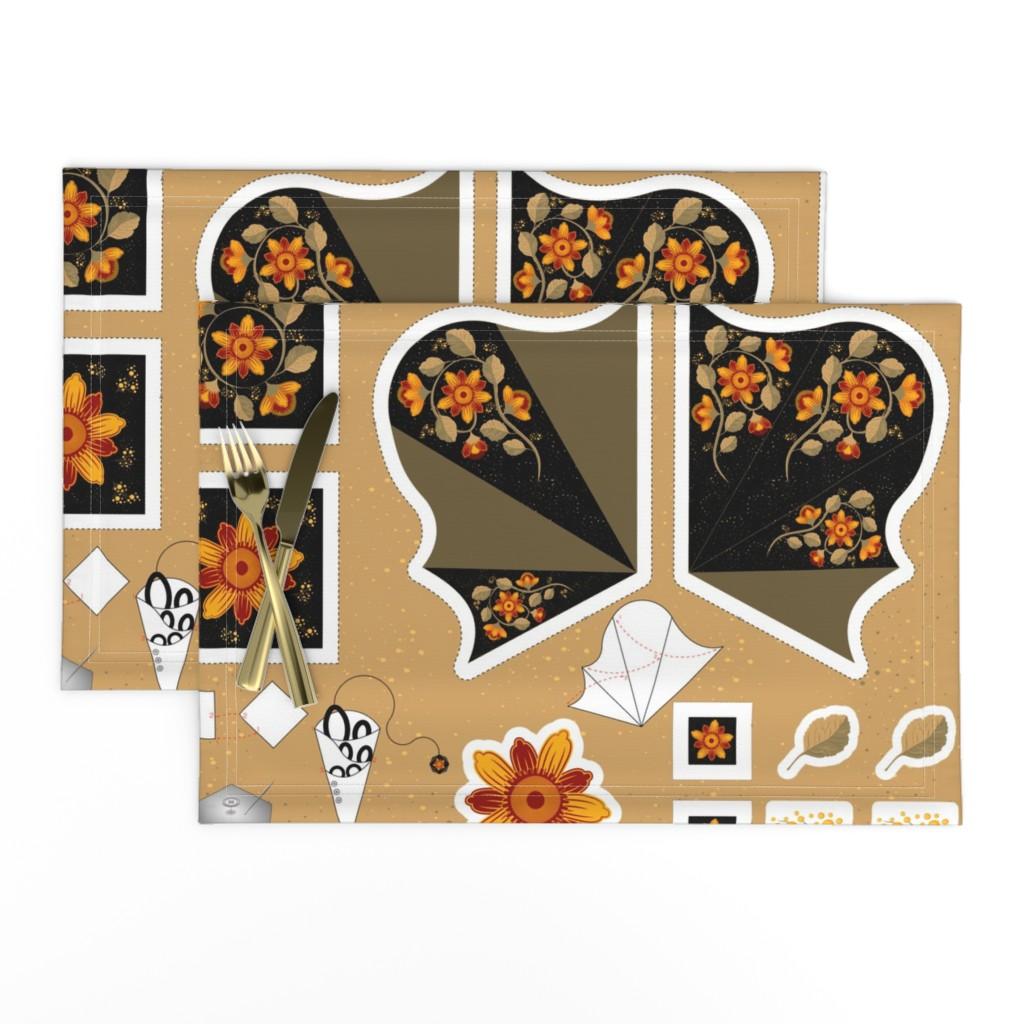 Lamona Cloth Placemats featuring Sewing kit. Cut & Sew by julia_faranchuk