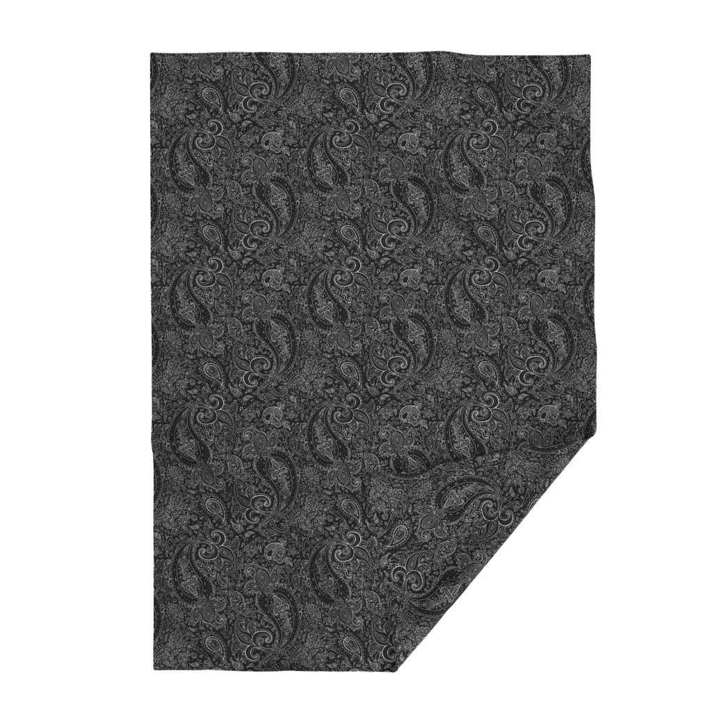 Lakenvelder Throw Blanket featuring Paisley White on Black by fabric_is_my_name