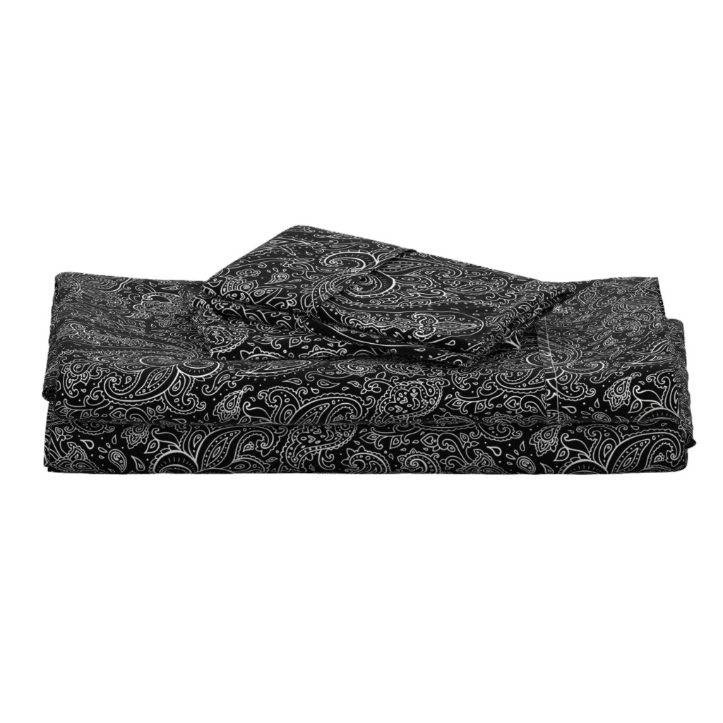 Langshan Full Bed Set featuring Paisley White on Black by fabric_is_my_name