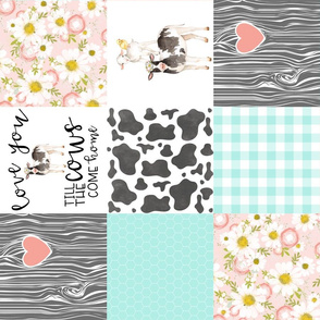 Farm//Love you till the cows come home//Mint&Coral - Wholecloth Cheater Quilt - Rotated
