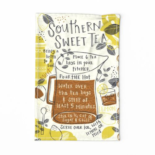 Southern Sweet Tea Recipe Tea Towel
