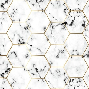 MARBLE black GOLD HEXAGON hex tile black marble