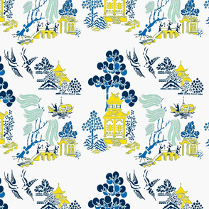 chinoiserie villages 2 gold,blue
