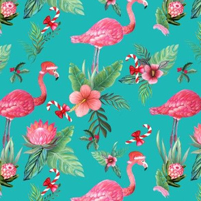 Santa Flamingo Christmas Tropical floral