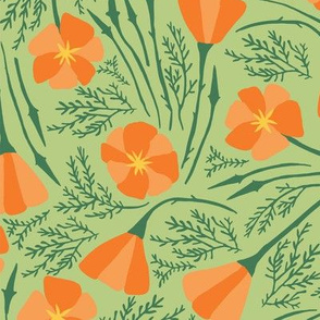 California Poppies_Pale Green