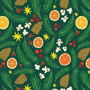 Holiday Pinecones_dark green