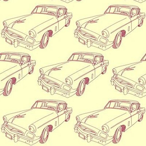 1955 Studebaker Line Drawing (brown on yellow)