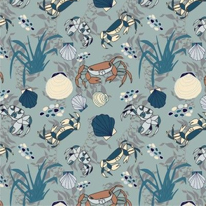 Summer Crabs and Seashells - Blue