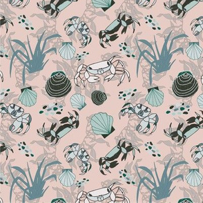 Summer Crabs and Seashells - Pink