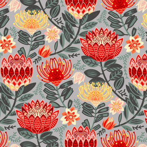 Protea Chintz on Grey - Large Scale