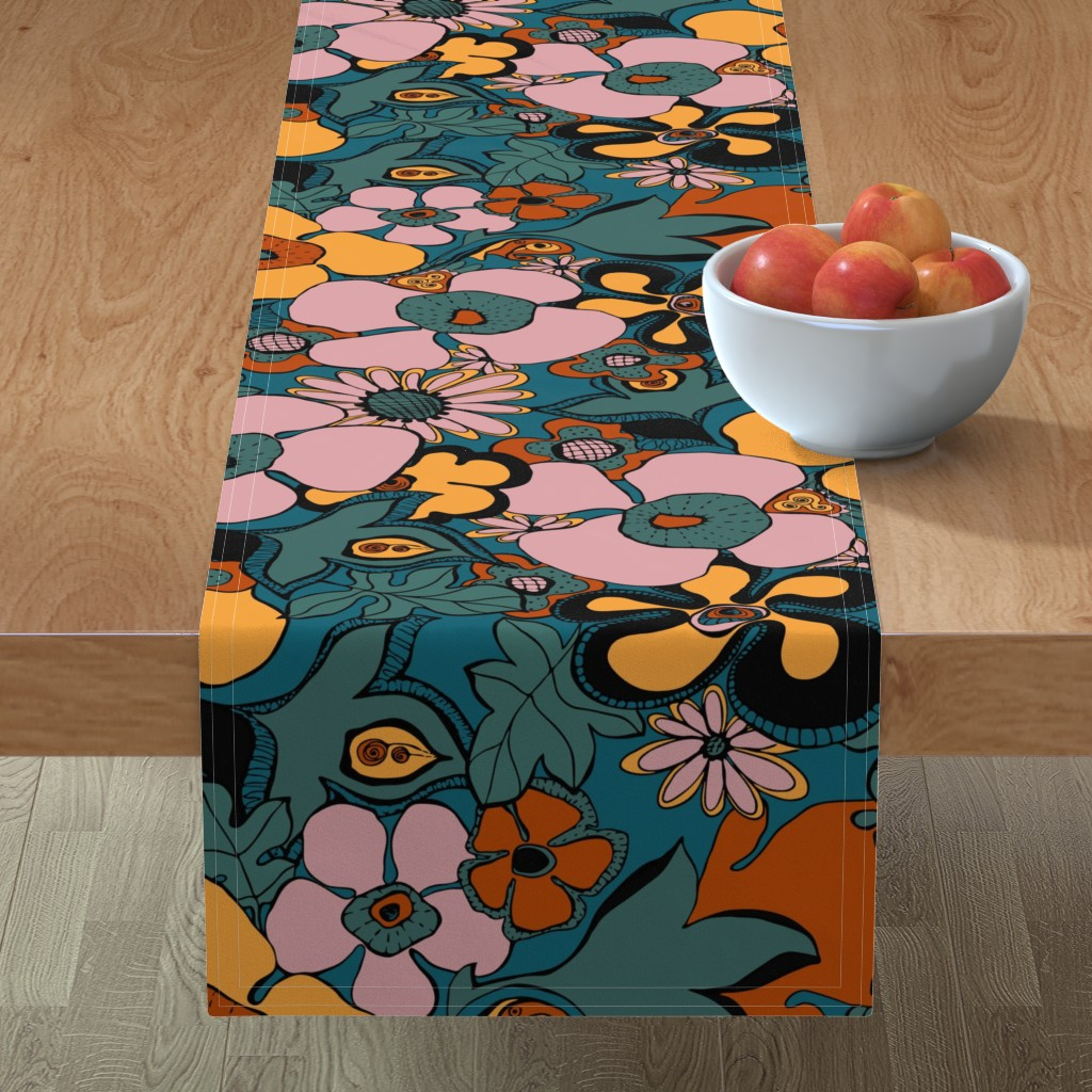 Minorca Table Runner featuring Floral Doodles in Limited Color Palette by delinda_graphic_studio