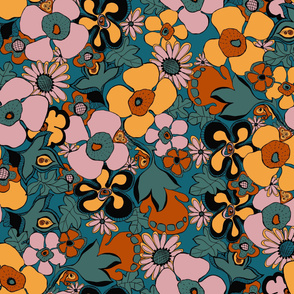Floral Doodles in Limited Color Palette