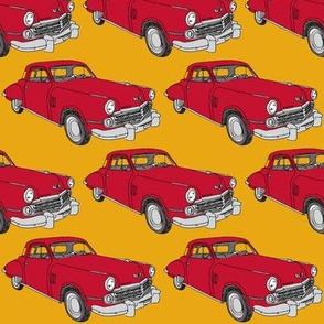Red 1948 Studebaker Commander 2 door sedan