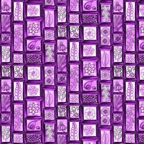 Framed Florals purple monochrome