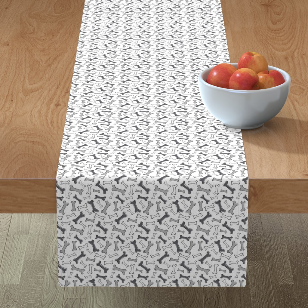 Minorca Table Runner featuring Bone Yard - Pets Dog Bones White Black & Grey by heatherdutton