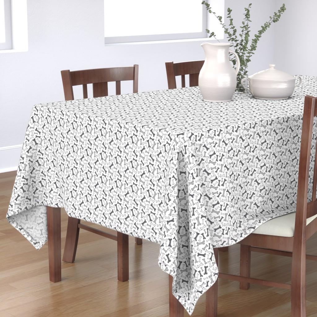 Bantam Rectangular Tablecloth featuring Bone Yard - Pets Dog Bones White Black & Grey by heatherdutton