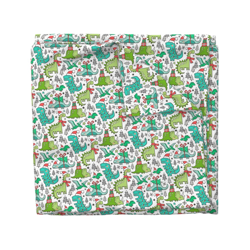 Wyandotte Duvet Cover featuring Christmas Holidays Dinosaurs & Trees by caja_design