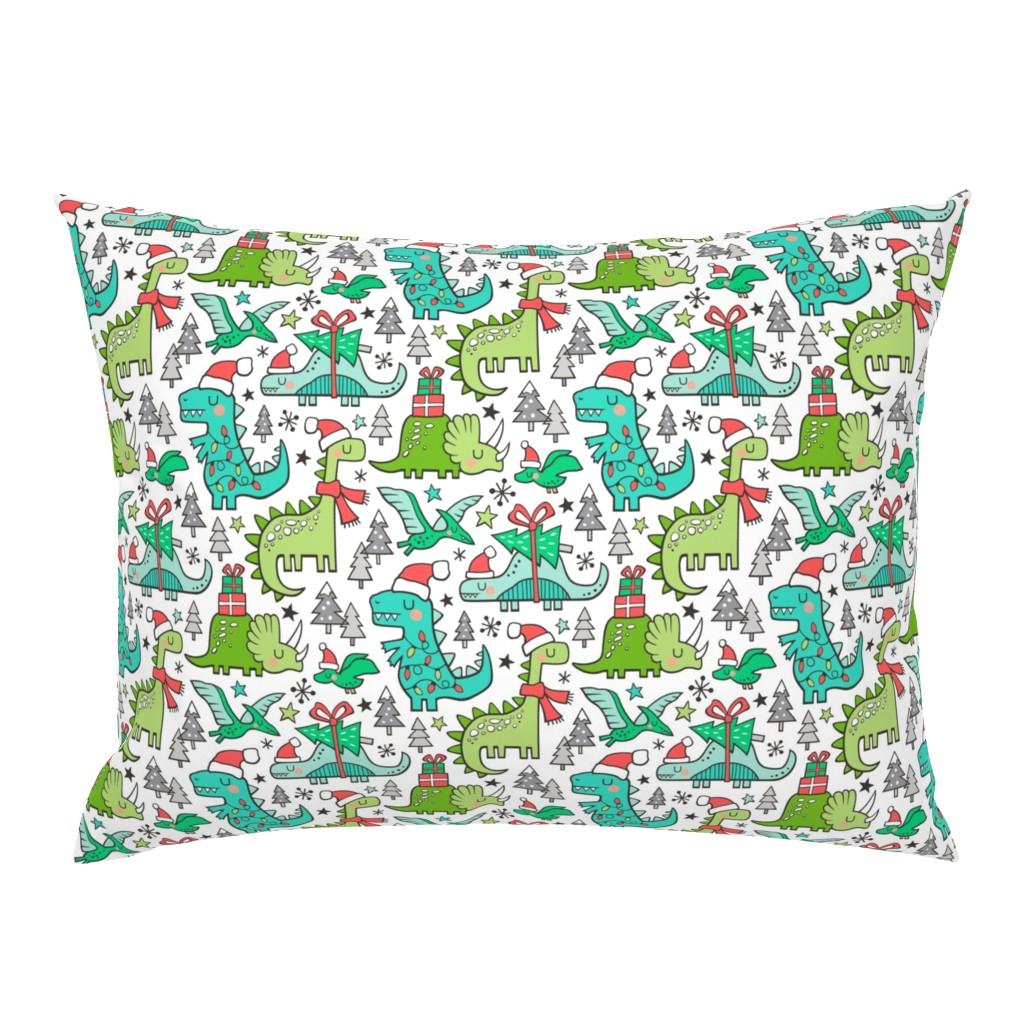 Campine Pillow Sham featuring Christmas Holidays Dinosaurs & Trees by caja_design