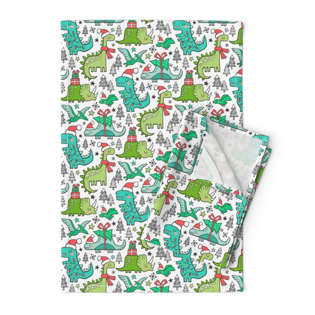 Orpington Tea Towels featuring Christmas Holidays Dinosaurs & Trees by caja_design