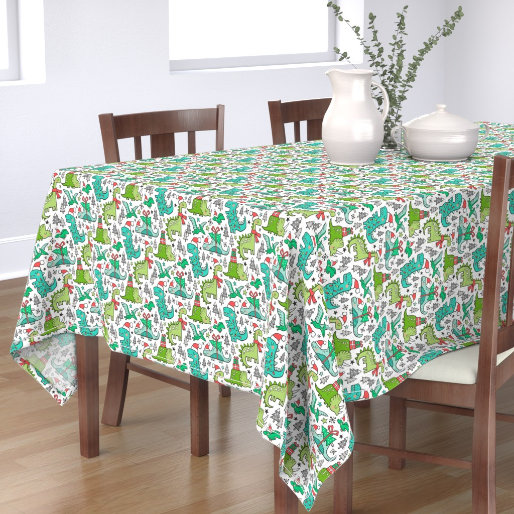 Bantam Rectangular Tablecloth featuring Christmas Holidays Dinosaurs & Trees by caja_design
