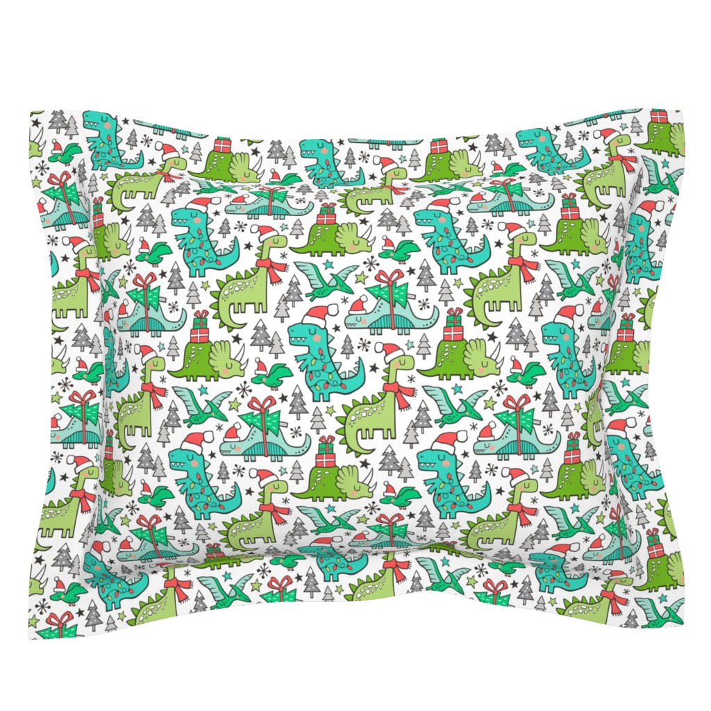 Sebright Pillow Sham featuring Christmas Holidays Dinosaurs & Trees by caja_design