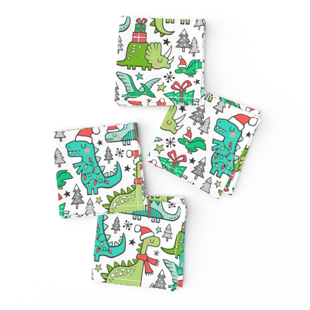 Frizzle Cocktail Napkins featuring Christmas Holidays Dinosaurs & Trees by caja_design