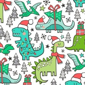 Christmas Holidays Dinosaurs & Trees