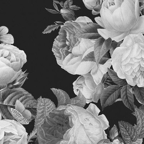 Black and Gray Large floral