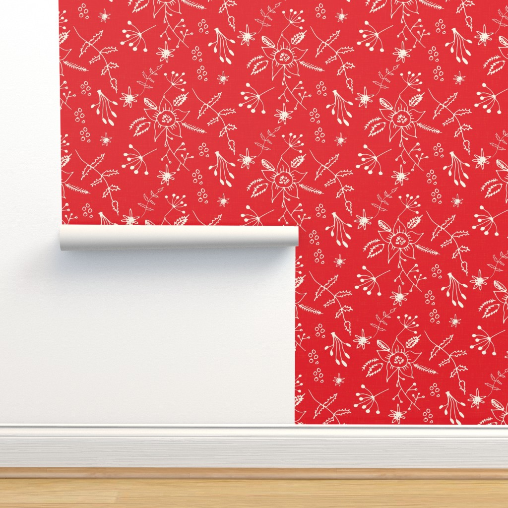 Isobar Durable Wallpaper featuring Winter Floral Red by bruxamagica