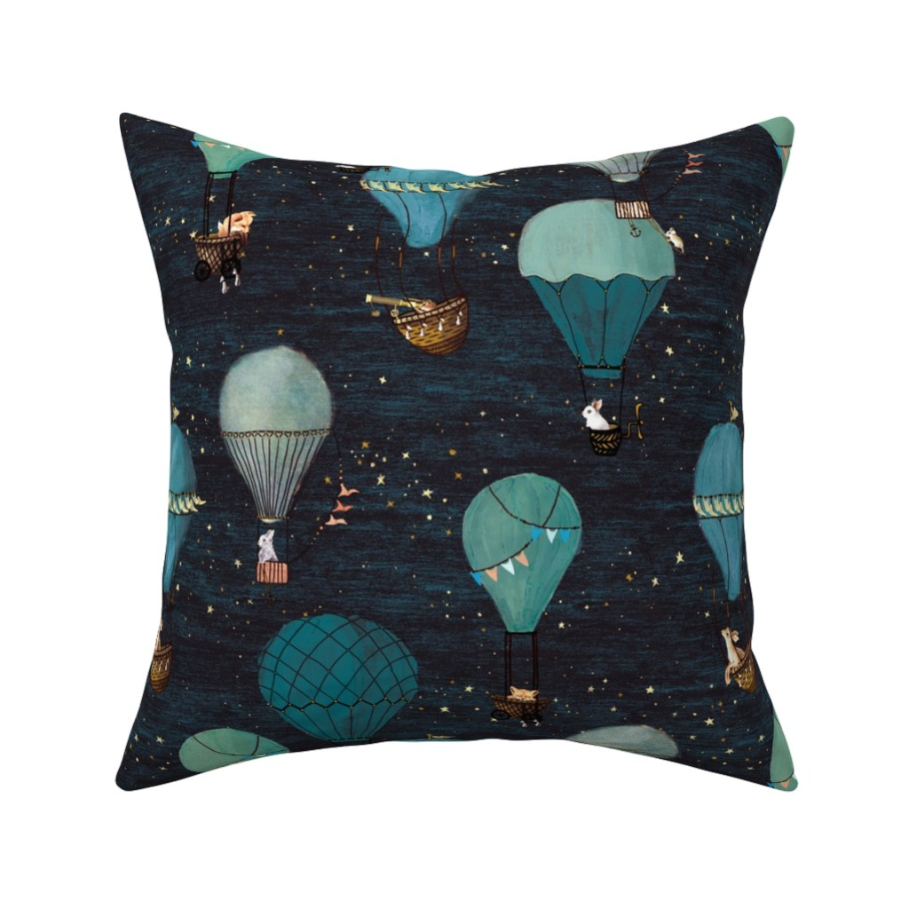Catalan Throw Pillow featuring Forest Animal Hot Air Balloon Night Adventure by at_the_cottage