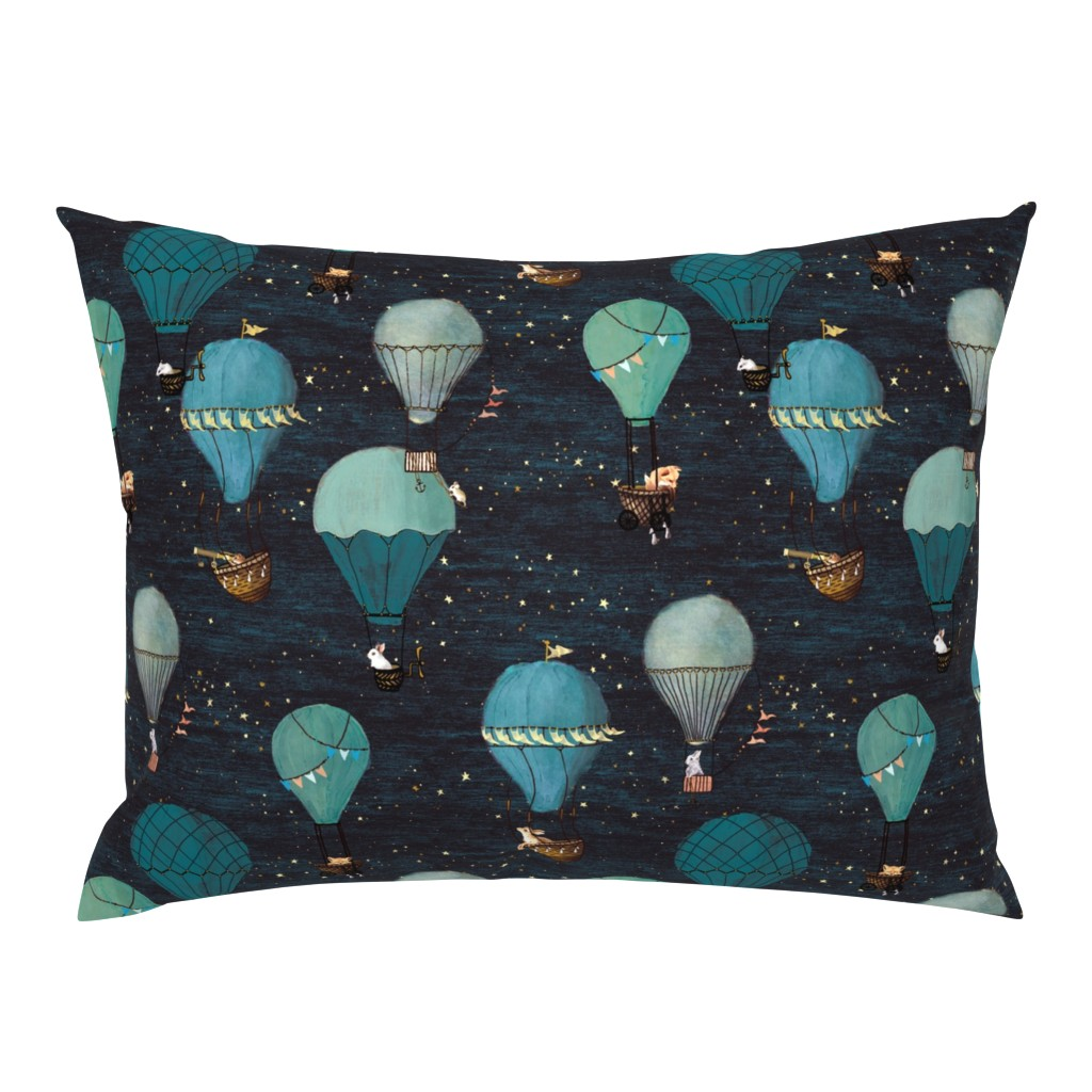 Campine Pillow Sham featuring Forest Animal Hot Air Balloon Night Adventure by at_the_cottage