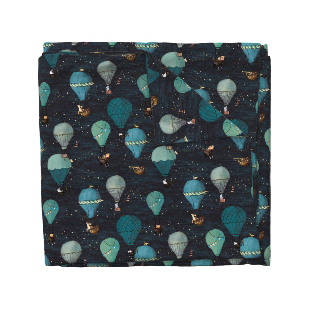 Wyandotte Duvet Cover featuring Forest Animal Hot Air Balloon Night Adventure by at_the_cottage