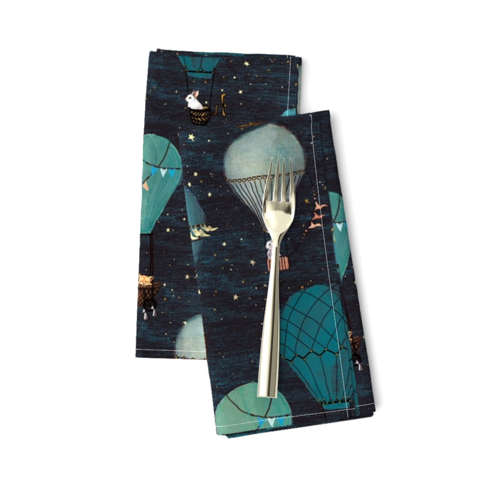 Amarela Dinner Napkins featuring Forest Animal Hot Air Balloon Night Adventure by at_the_cottage