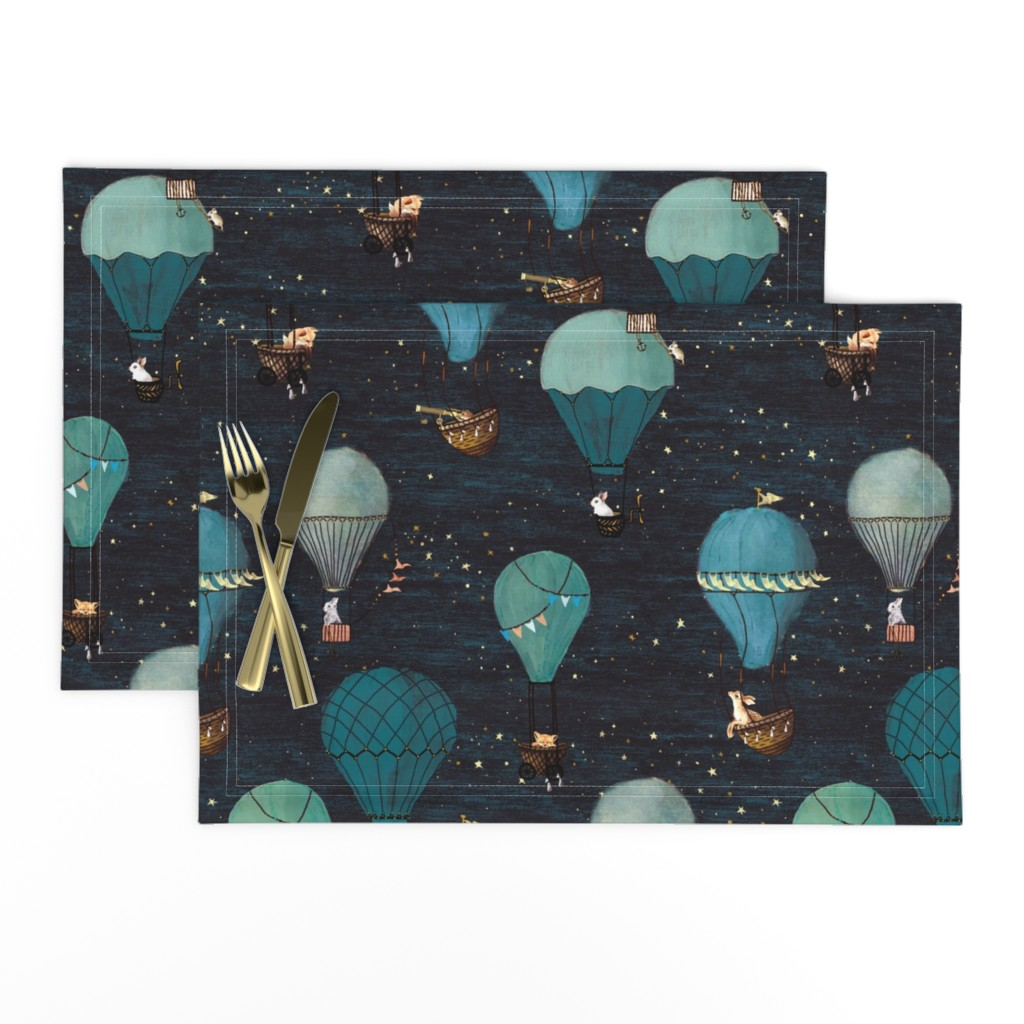 Lamona Cloth Placemats featuring Forest Animal Hot Air Balloon Night Adventure by at_the_cottage