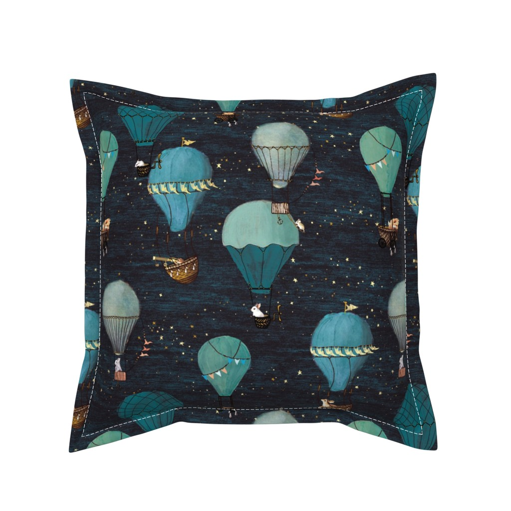 Serama Throw Pillow featuring Forest Animal Hot Air Balloon Night Adventure by at_the_cottage