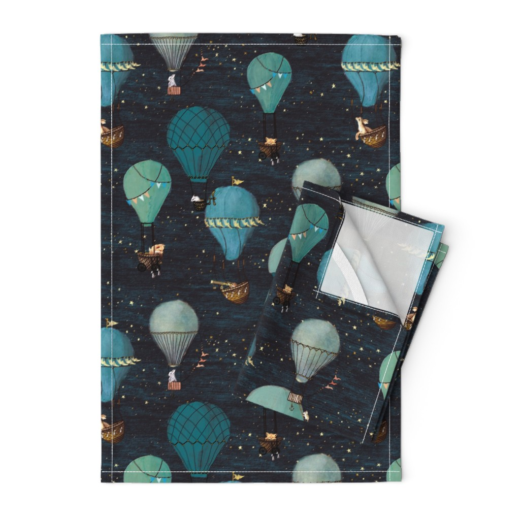 Orpington Tea Towels featuring Forest Animal Hot Air Balloon Night Adventure by at_the_cottage